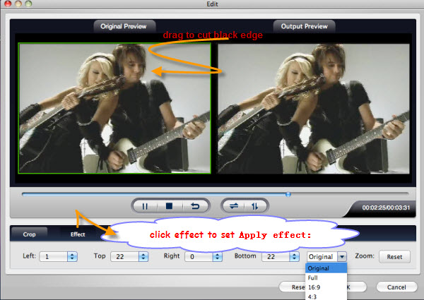 crop apply effect for flash video mac