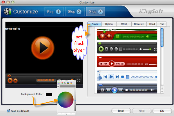 customize flash player mac