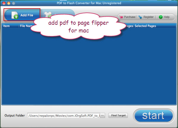 import pdf files into pdf page flipper for mac