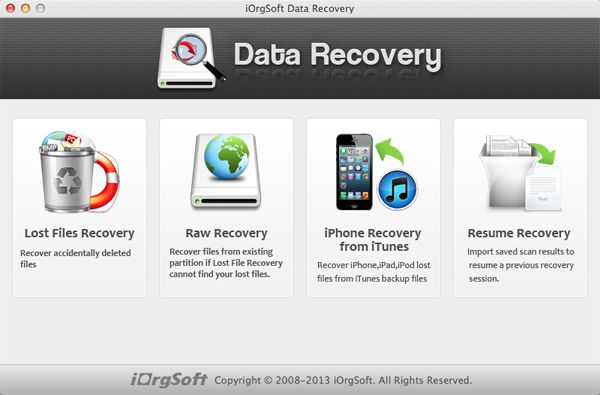 data recovery main interface