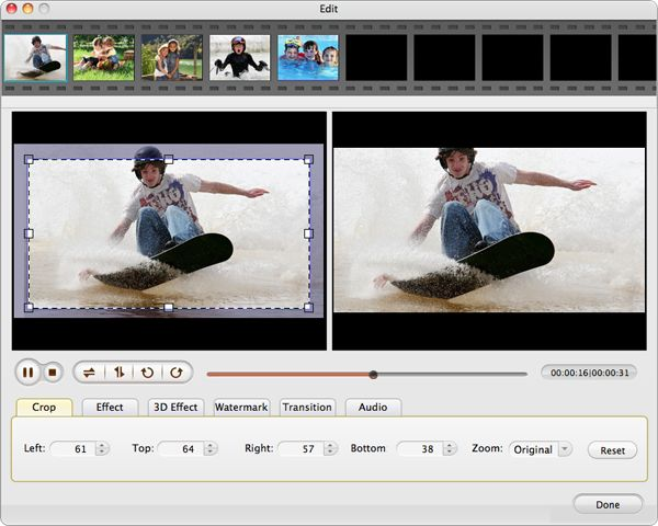 clip crop dxg hd video to mac