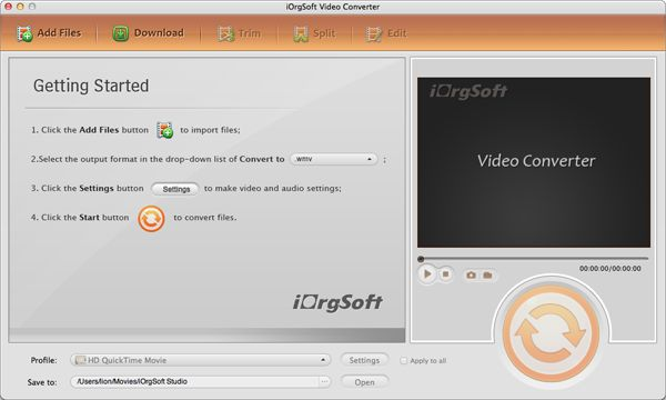 iOrgsoft Video Converter for Mac Screen shot