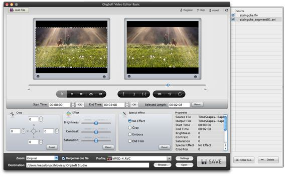 Easily edit/split/cut/merge/crop/adjust/export .flv files on Mac OS.